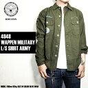 『HOUSTON/ヒューストン』 4948 WAPPEN MILITARY L/S SHIRT(ARMY)/ ワッペンミリタリーL/Sシャツ(ARMY) -全3色- 「コットン」「アメカ..