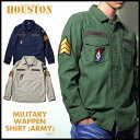 長袖シャツ 2016 A/W『HOUSTON/ヒューストン』 40233 MILITARY WAPPWN SHIRT(ARMY)/ミリタリーワッペンシャツ(アー...
