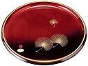 中西工芸 紀州のぬりもの 丸盆 塗分け玉虫 金縁 貝入松 33cm 22-9-9D