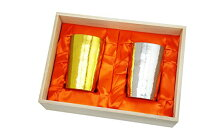 HORIE(ホリエ) 新潟県燕産 チタン2重タンブラー 窯創り ライト 270cc 磨き 金&銀 2色セット T09KM270MGGSSETの画像