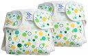 村信 日本製 2枚組 新生児用 マルチ水玉柄 綿おむつカバー 50cm グリーン JF201A
