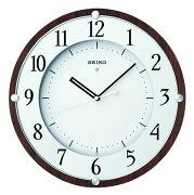 セイコークロック 電波掛時計 木枠(MDFウォルナットつき板貼り・茶木地塗装) KX373B
