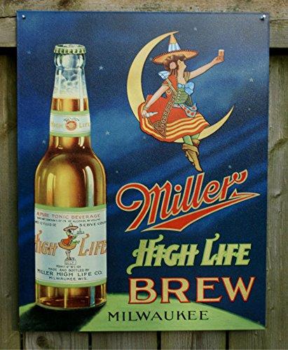 ミラービール★ムーンレディー★Miller High Life Brew★アメリカンブリキ看板[978]