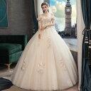 ウェディングドレス wedding dress ウエディングドレス プリンセスライン 結婚式 花嫁 ブライダル ロングドレス オフショルダー 森ガー..