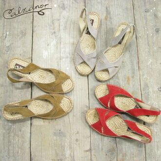 Calzanor / カルザノール バックストラップウェッジ Sandals 3 COLORS (815) Sandals suede S/473 SERRAJE espadrille natural leather leather Italy adult cute fs3gm