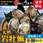 夏季限定【日本海産】天然岩牡蠣(割ってお届け)8個セット
