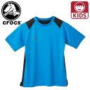 ショッピングcrocs クロックス Tシャツ クルーネック キッズ 子供服 カジュアル ジュニア 半袖 ブルー 111179