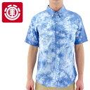 【セール】ELEMENT 半袖 メンズシャツ タイダイ ボタンダウンシャツ エレメント 総柄シャツ AF021124
