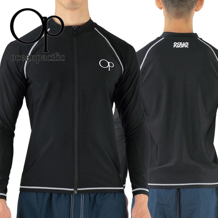 オーピーメンズラッシュガード黒長袖ジップアップ水着シンプルOP517472紫外線対策日焼け防止