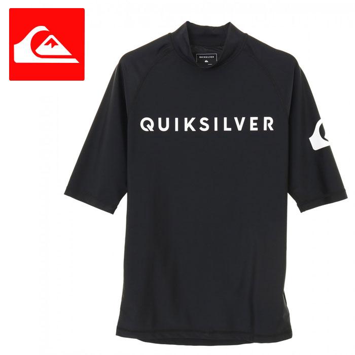 メンズラッシュガード五分袖シンプル黒プルオーバーストレッチUPF50+紫外線対策QLY191003Q