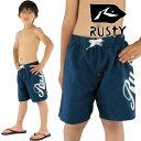 RUSTYサーフトランクスキッズ紺色遊泳水着子供用海パン男の子用サーフパンツ