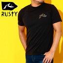 ラスティ Tシャツ メンズ UVカット バックプリント ブラック 918493 半袖