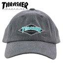 ショッピング帽子 スラッシャー 帽子 キャップ 黒色 CAP ロゴ刺繍 6パネルキャップ THRASHER 18TH-C05 BLK