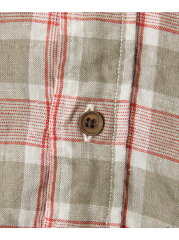 Freemans Sporting Club Linen Check Buttondown Shirt Short Sleeve UF65-13R001: Red