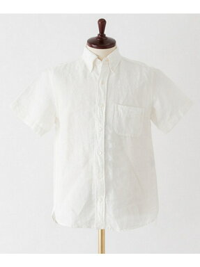 Freemans Sporting Club Linen Chambray Buttondown Shirt Short Sleeve UF65-13R002: White