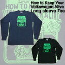ajito HAPPYEND フォルクスワーゲン ビートル ロングスリーブ Tシャツ HOW TO KEEP YOUR VOLKSWAGEN ALIVE ロンT カットソー トップス デッドストック ビンテージ アメリカン 車 (ブラック/ネイビー)