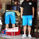 ショッピングサイズ BUDDY Champion 別注 JAGUARS チャンピオン スウェット ショートパンツ ショーツ メンズ ターコイズブルー ロゴ アメカジ 青 原宿 ストリート ファッション ボトム 短パン Lサイズ XLサイズ スエット リバースウィーブ