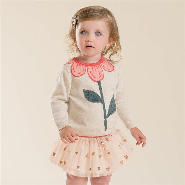 セーター女の子キッズ長袖ニットセーター花柄刺繍ベージュ708090100110120cmDB4013