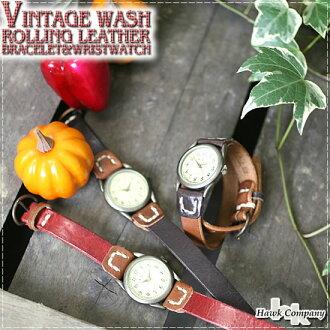 HAWKCOMPANY (Hawk company) dedicated BOX with leather vintage wash processing stitch 2-ブレスレットリストウォッチ (bangles, watches) ( 6402 ) / / men's / women's / Rakuten