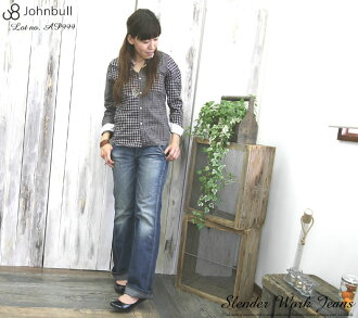 JOHNBULL (John Bull) work slender denim underwear / sloppy dune buggy jeans / ユーズド processing / light ounce (denim baggy pants /AP073/AP584/AP999-15) stitch / Lady's / woman / one wash // Rakuten /fs3gm