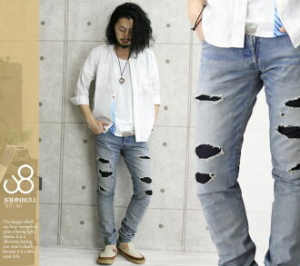 JOHNBULL( John Bull) light ounce denim / bleach color / Fine jeans / men / remake / slim / damage processing / jeans / jeans /JEANS/ bottoms / Rakuten /fs3gm/10P10Nov13