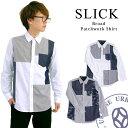 スリック slick ブロード パッチワークシャツ(5169204) 白 ホワイト ネイビー 長袖 トップス カジュアル メンズ ストライプ 送料無料 楽天