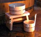 木曽ひのき丸桶・風呂椅子・手桶3点セット 【木曽の漆器よし彦】