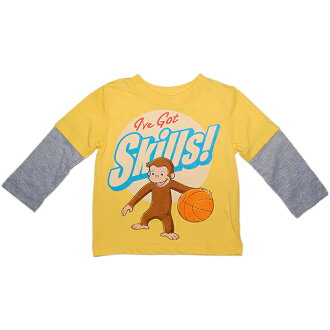 Curious George for boys yellow I've Got Skills! celebrate basketball love George layering style long sleeve T shirts, maternity, challenge the anime yellow Ron T, lowest price