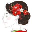 髪飾り つまみ細工 かんざし kk-086 赤 レッド ちり...