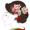 髪飾り2点セット wk-292 つまみ細工 かんざし 成人式 振袖 卒業式 浴衣 花 フラワー ヘアーアクセサリー