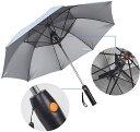 ショッピング扇風機 【在庫あり】かさ 日傘 扇風機 晴雨兼用 UVカット 長傘 雨傘 遮光 紫外線対策 熱中症対策 黒 メンズ レディース ネット付き 涼しい ファン付 傘 ブラック 送料無料