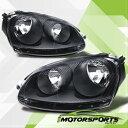 フォルクスワーゲン ヘッドライト 2006 2007 2008 2009 Volkswagen VW Mk5 Golf Jetta GTI Black Headlights Pair 2006 2007 2008 2009フォルクスワーゲンVW MK5ゴルフジェッタGTIブラックヘッドライトのペア