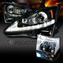 レクサス ヘッドライト 06-09 Lexus IS250 Black LED DRL Signal Projector Headlights+H1 Halogen Bulbs 06-09レクサスIS250ブラックLED DRL信号プロジェクターヘッドライト+ H1ハロゲン電球