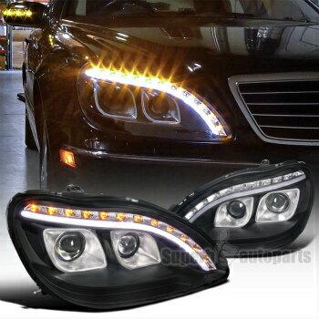 1998-2006 Mercedes Benz W220 S320 S420 Projector LED Signal Black Headlights