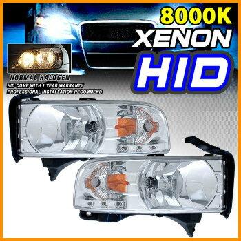 1994-2001 DODGE RAM CHROME CRYSTAL HEADLIGHT LAMP W//DRIVING FOG LIGHT+8K HID KIT