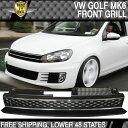 USパーツ 10-14 VWゴルフ6 MK6 GTIスタイルフロントハイバーブラッククロームメッシュグリル - ABS 10-14 VW Golf 6 MK6 GTI Style Front High Bar Black Chrome Mesh Grille - ABS