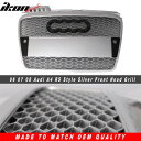 USグリル 06-08アウディA4 RSスタイルフロントフードグリルグリル - シルバー 06-08 Audi A4 RS Style Front Hood Grille Grill - Silver