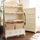 ブックケース 485 輸入家具 アウトレット アンティーク調 白家具 姫系 ディスプレイラック ブックシェルフ 本棚