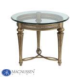 輸入家具 アウトレット ガラステーブル 37504 サイドテーブル エンドテーブル ガラス天板 円形 丸型 アンティーク調 クラシック