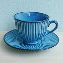 HASAMI ブルー彫 コーヒーカップ ソーサー...