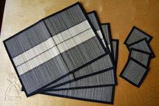 王國的泰國 ISAN 支付細竹編織的餐墊 & 杯墊設置 4 雙 (黑色系列)