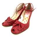 バニティービューティー vanitybeauty リボン パンプス シューズ 靴 24.5 レッド 赤 SSAW レディース 【中古】【ベクトル 古着】 180212 VECTOR×Refine