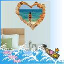 ウォールステッカー 海 窓 南国 ビーチ 壁穴 風景 おしゃれ シール 風呂 砂浜 壁紙 トイレ キ