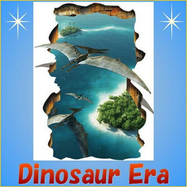 ウォールステッカー恐竜トリックアート海空壁穴窓ヤシの木壁紙空シール恐竜時代お風呂シート写真鳥トリック