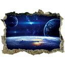 ウォールステッカー 宇宙 子供部屋 窓 地球 惑星 星 衛星 壁穴 シール 月 トイレ ステッカー レンガ 穴 インテリアシール 銀河系 太陽系 世界 星空 英字 景色 宇宙船 人気 だまし絵 小さい ミニサイズ 風景 病院 彗星 大星雲 夜空 青い