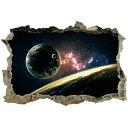 ウォールステッカー 宇宙 壁穴 惑星 衛星 地球 恒星 月 シール 窓 トイレ お風呂 星 ステッカー レンガ 穴 インテリア シール 子供部屋 銀河系 太陽系 星空 彗星 流星 英字 景色 宇宙船 小さい 人気 だまし絵 綺麗 かわいい ワンポイント 背景