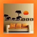 ウォールステッカー 動物 ゾウ 像 ぞう アニマル かわいい アフリカ ステッカー 風景 シール 壁