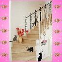 【ウォールステッカー】 猫 黒猫 ねこ ネコ 動物 ウォールシール かわいいステッカー 階段 アニマ
