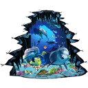 ウォールステッカー 動物 イルカ 魚 海 窓 子供部屋 海の中 壁穴 おしゃれ かわいい 立体 海中 水中 シール 海底 壁紙 風景 ステッカー 青い ブルー 癒し系 海豚 サンゴ礁 波 騙し絵 だまし絵 お風呂 景色 diy 床 大きい窓
