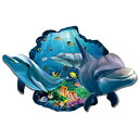 ウォールステッカー イルカ 魚 海 海の中 動物 子供部屋 窓 アニマル 海中 水中 シール 海底 壁紙 風景 ステッカー 青い ブルー かわいい 癒し系 海豚 サンゴ礁 フィッシュ 波 騙し絵 だまし絵 ウオールステッカー 景色 diy 大きい窓